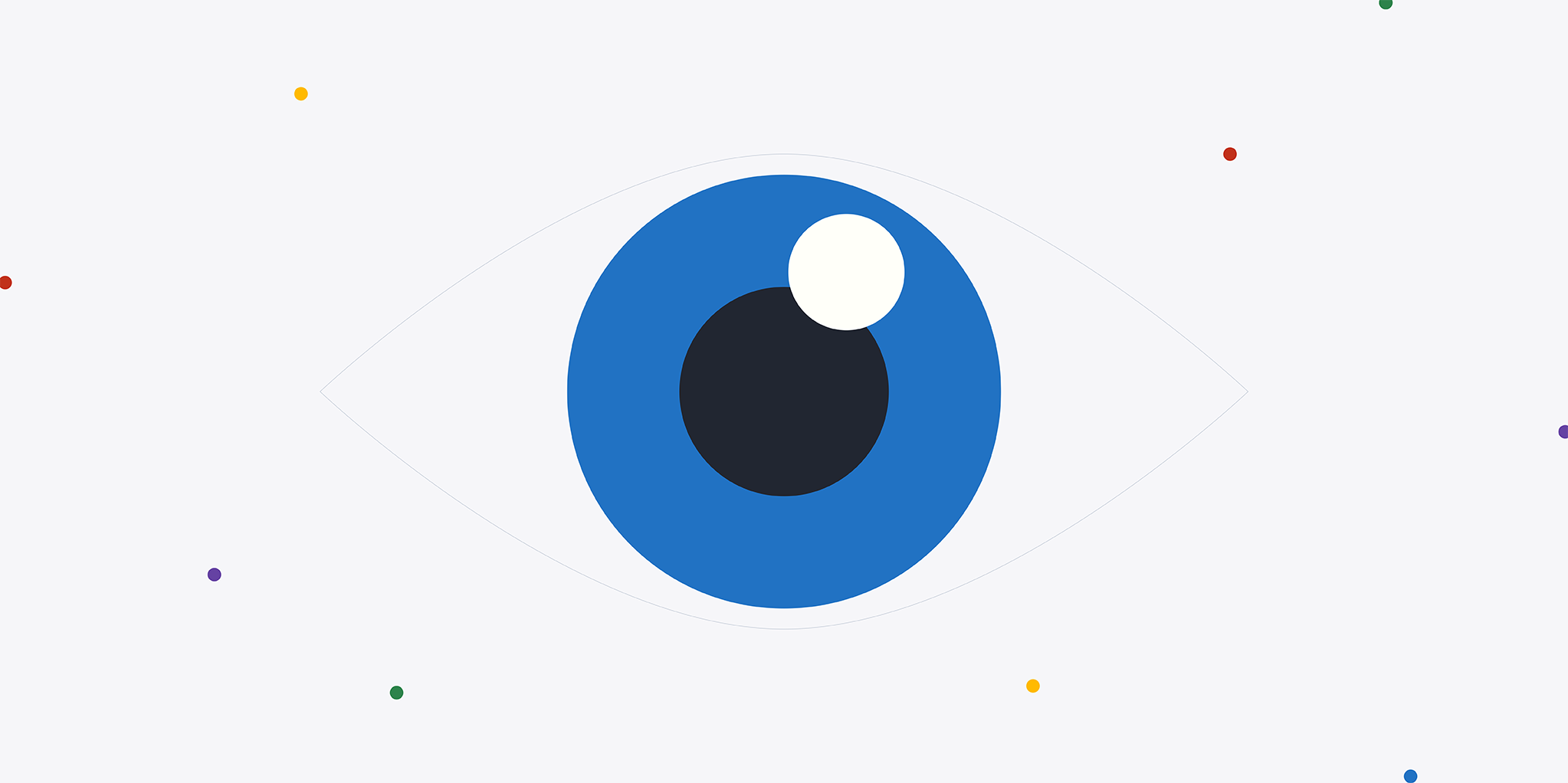 Blue eye with a black pupil on a white background surrounded by small, colorful dots.