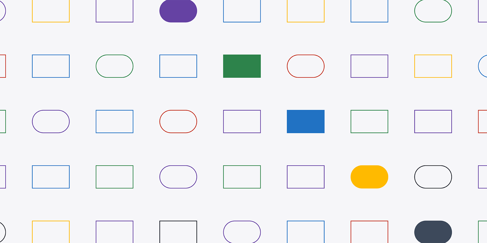 Rows of colorfully outlined shapes with cascading solid shapes from the top middle to the bottom right.