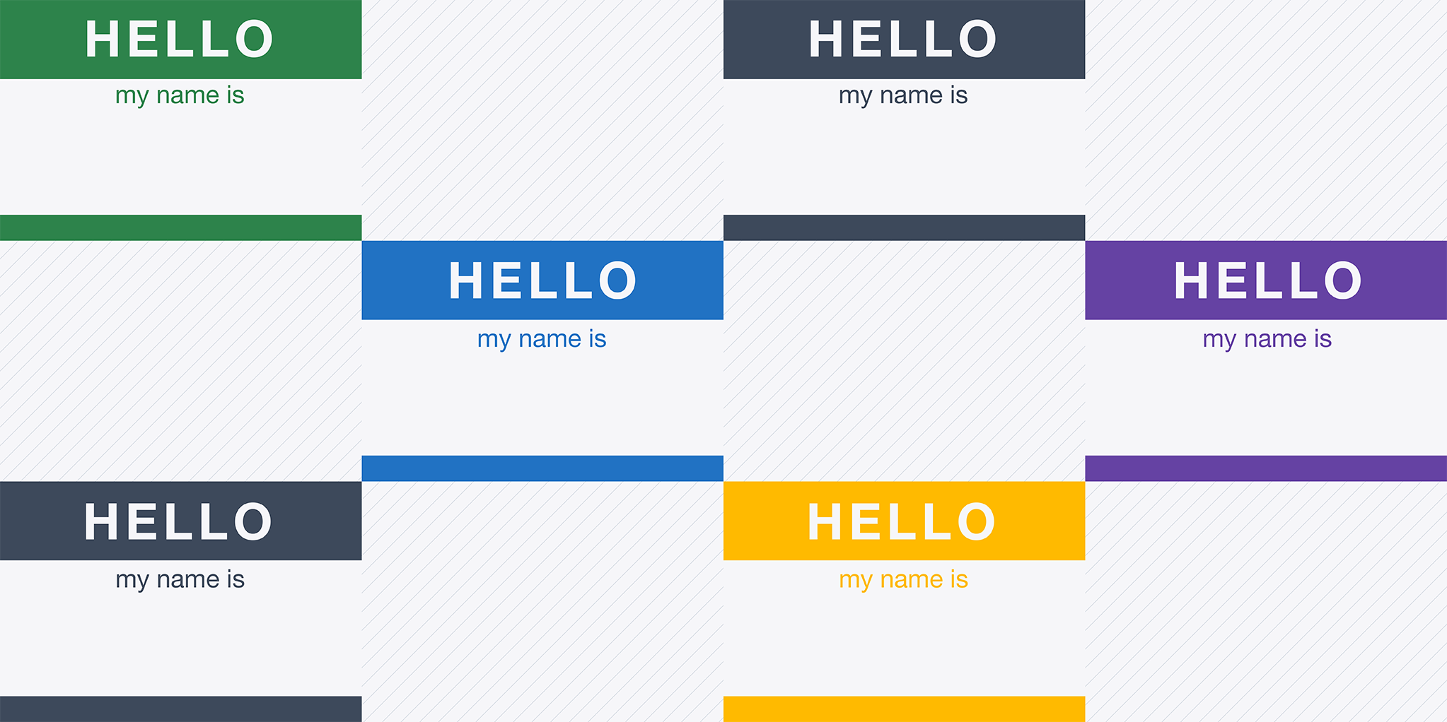 """Colorful """"hello, my name is..."""" stickers."""