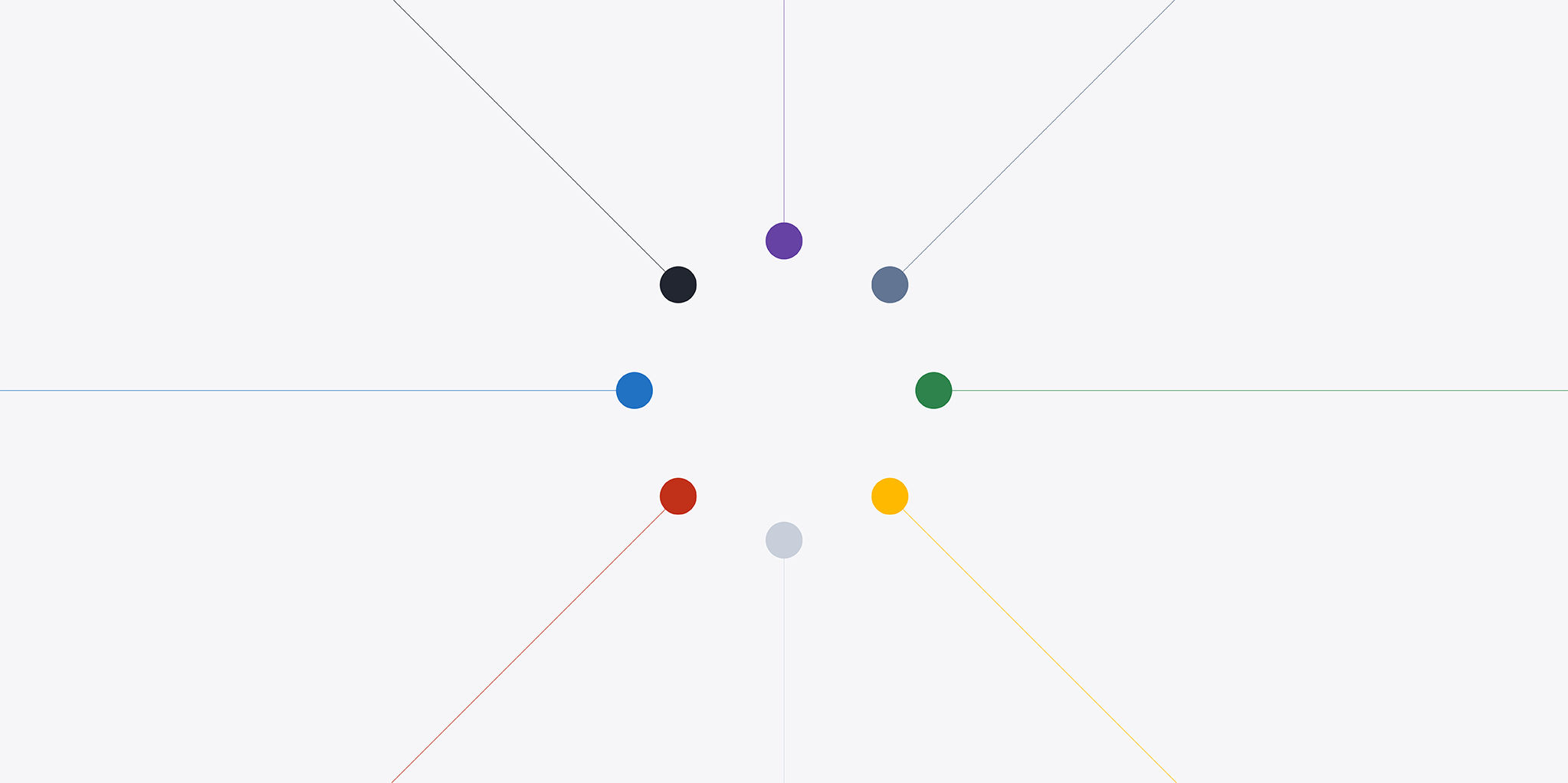 Colorful, solid circles meeting together in the middle to form a larger circle.