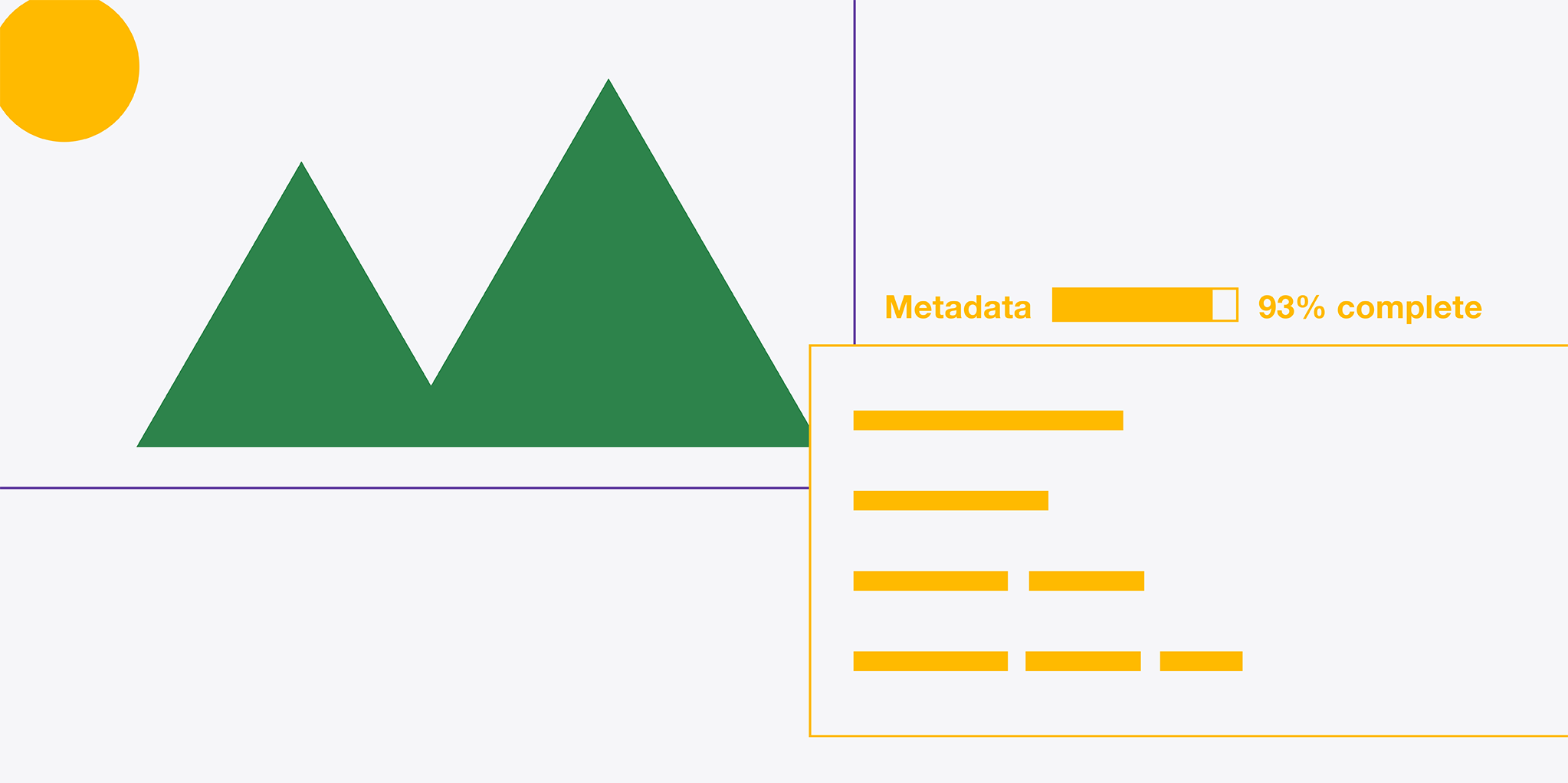 Illustrated image of trees with a a percentage bar showing 93% metadata completion and an illustration depicting text on a web page.