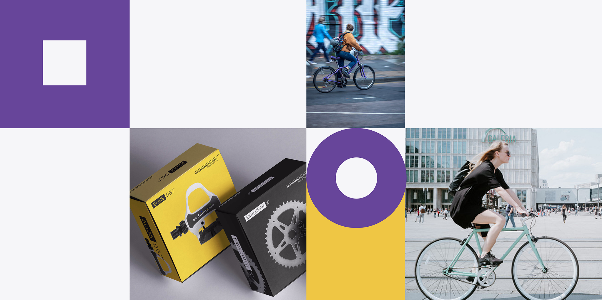 Graphic banner with images of bicycle parts packaging and people riding bikes on the street.