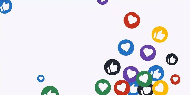 """Blog header image: Social media and DAM represented by """"like"""" thumbs up circles and heart circles."""