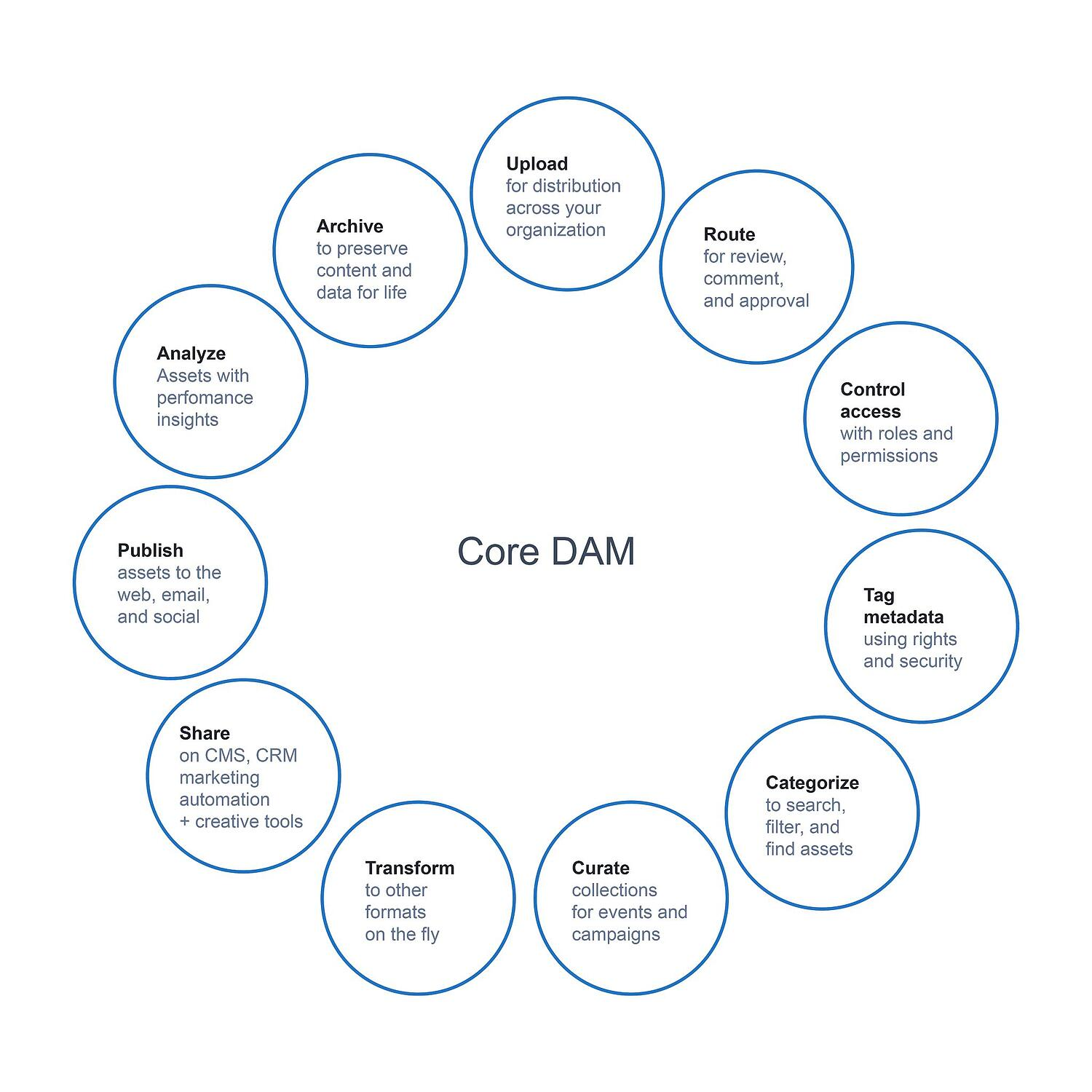Illustration with 11 circles forming a bigger circle to represent the benefits of DAM.