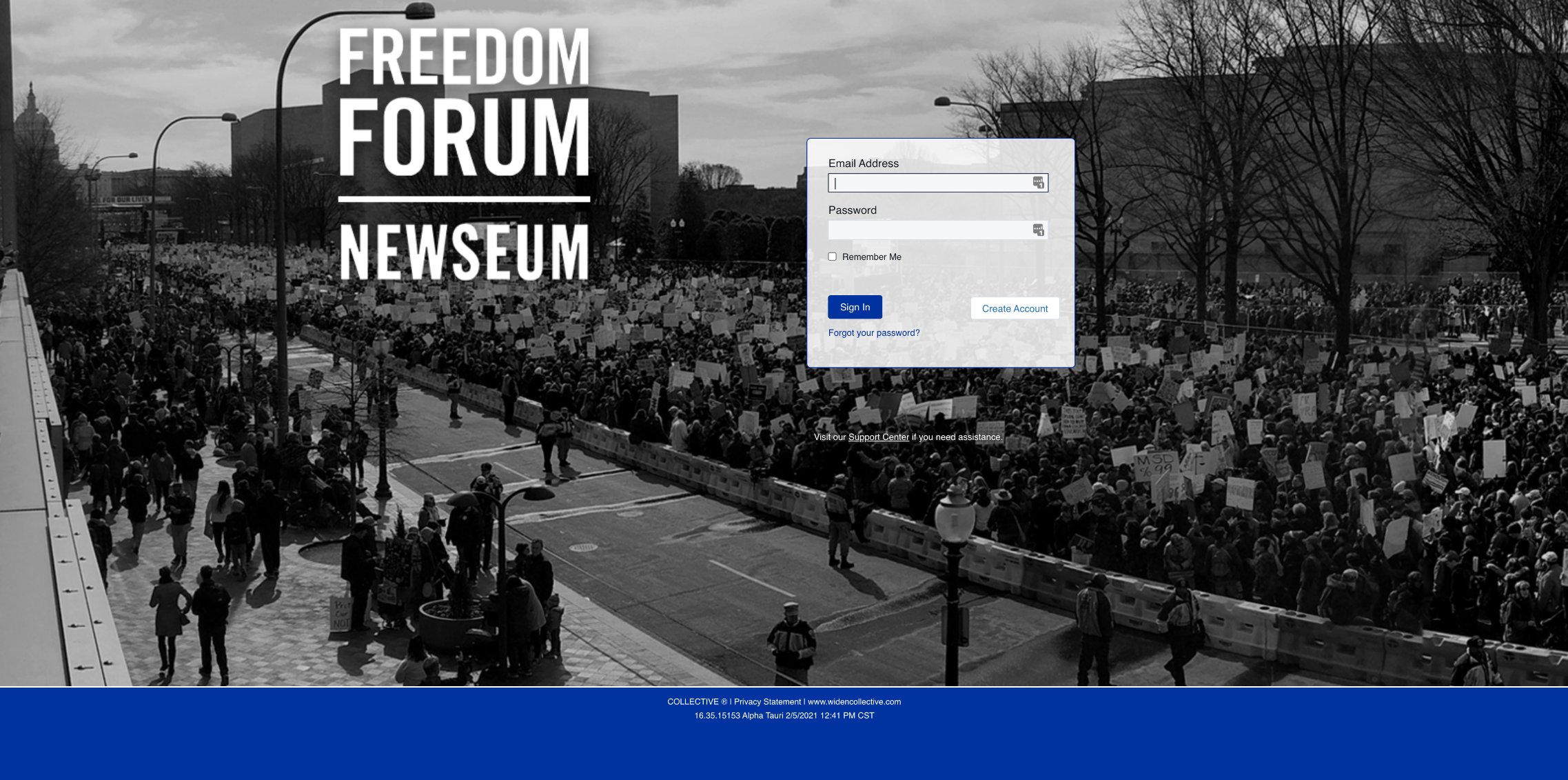 Screenshot of the Freedom Forum/Newseum's Widen Collective login screen. It has a black and white picture of an activist march as the background and a login box with a place for your email address and password.