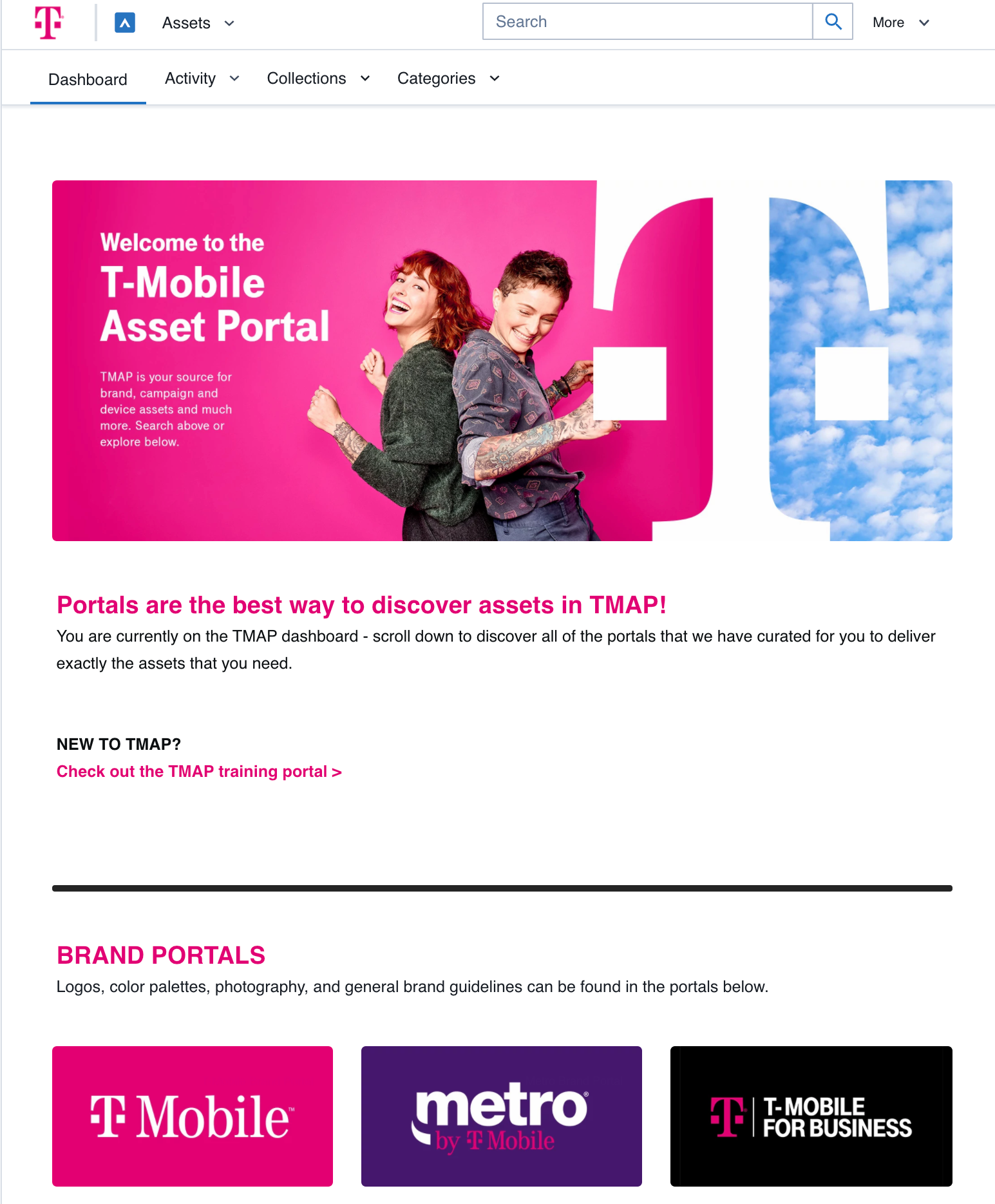 Screen capture of the T-Mobile Widen Collective dashboard. With a header image of two women back to back and smiling. Below is text giving information about the DAM site and image links to provide links for the company's brand portals.