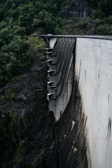 Vertical image of the Verzasca Dam. A large, concrete structure on the right side of the images and trees and cliffs on the left and top.