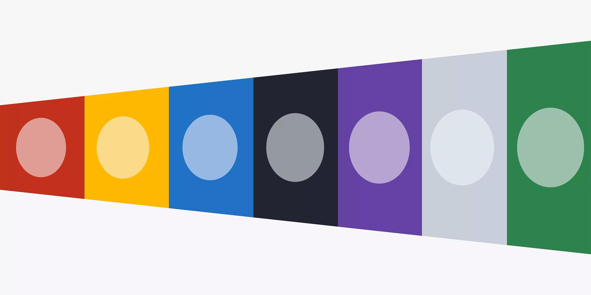 Seven trapezoids in varying colors growing larger vertically as you look from left to right. All have a circle in the middle of them of the same color but at a higher transparency.