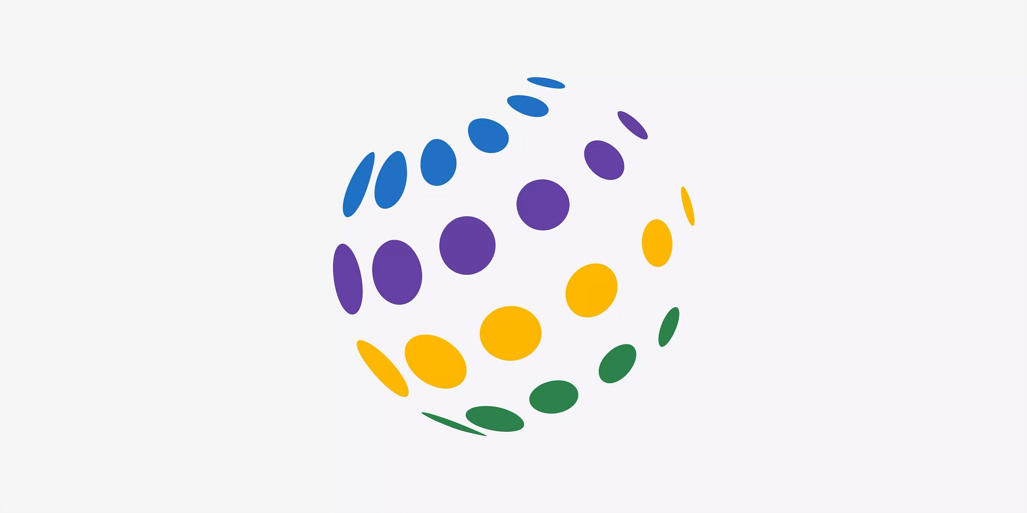 A circle placed in the middle of the image on a white background made out of four rows of colorful smaller circles, intended to look 3-D.