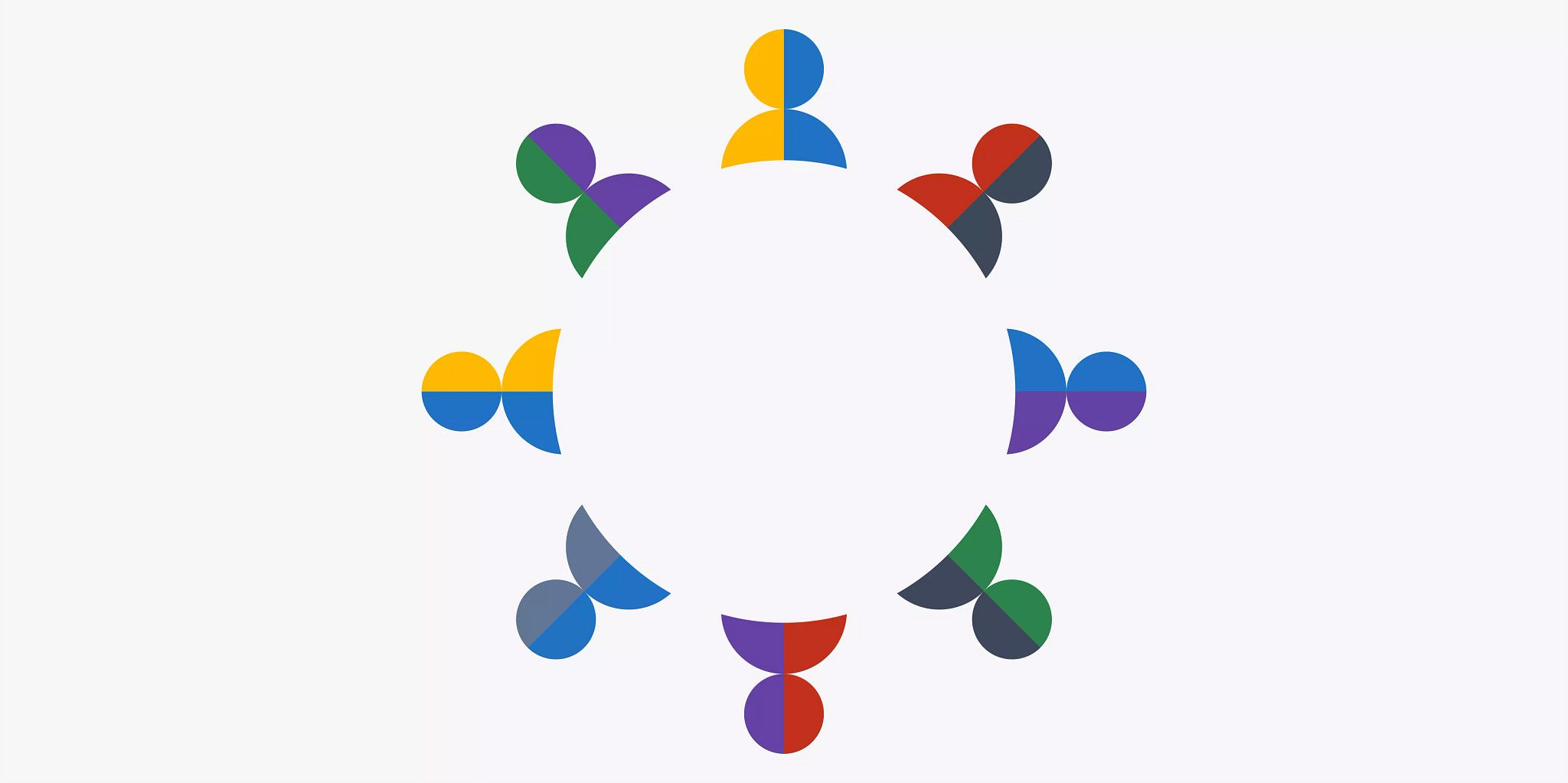 Eight icons representing people placed around the outside of a circle located in the center of the graphic.