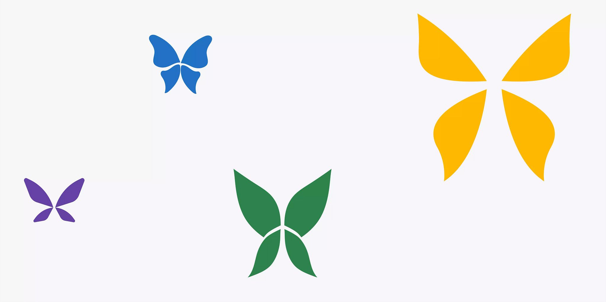 Four illustrated butterflies in solid colors (purple, blue, green, and yellow) of varying sizes on an off-white background.