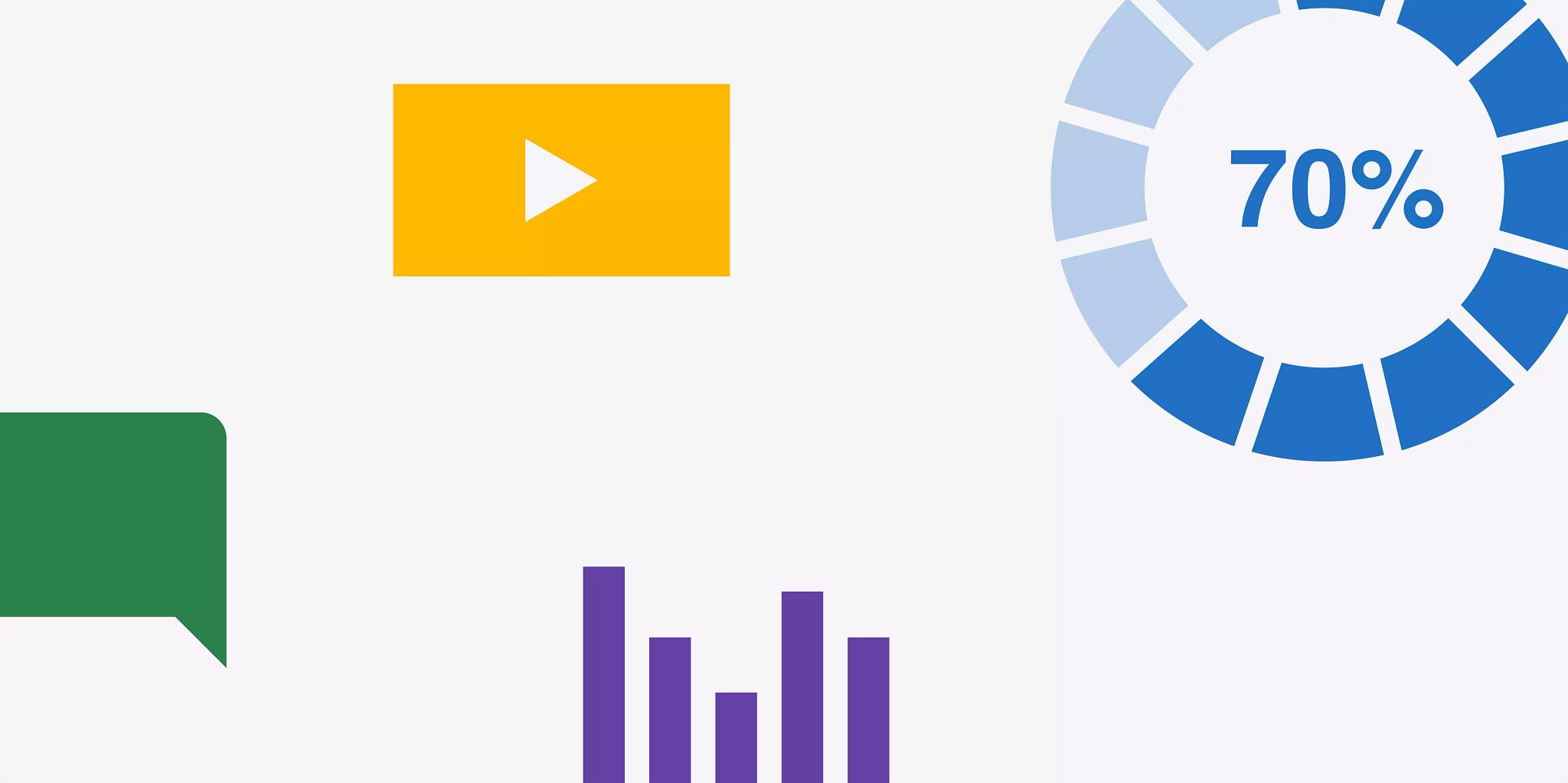 "Graphics that represent data and technology. Solid green comment bubble. Solid yellow rectangle with a white play button. Blue circle that looks like it's ""loading"" with ""70%"" in the middle of the circle. And solid purple lines representing a bar graph."