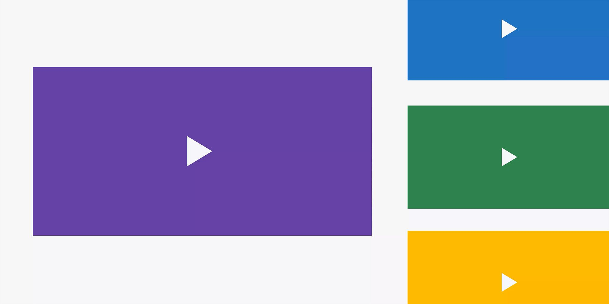 """Large purple rectangle centered on two thirds of the image and three smaller rectangles stacked on the right side of the image. All are solid colors and have a white """"play"""" button in the middle."""