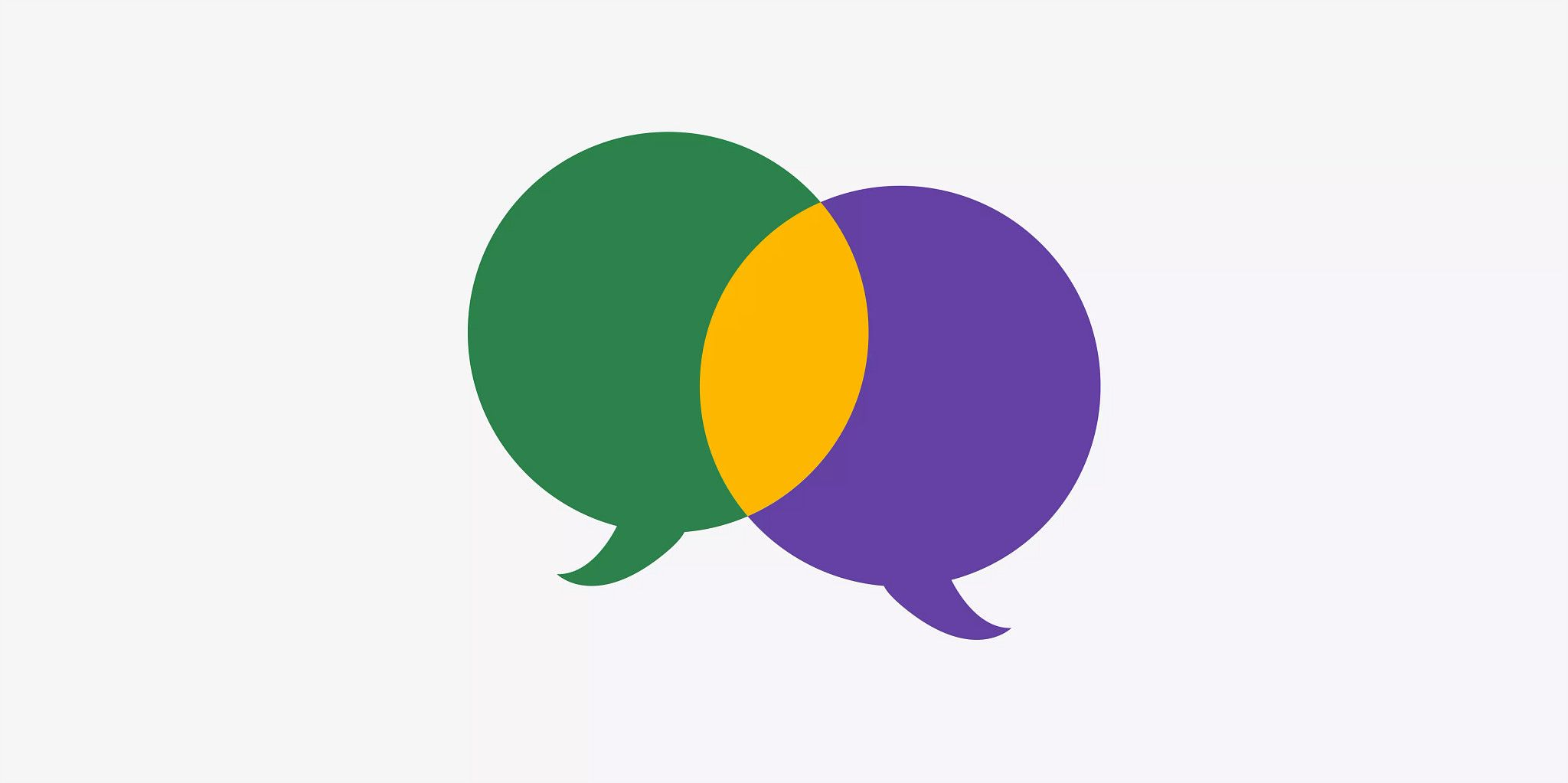 One green and one purple conversation bubble overlapping in the center of the graphic, depicted in yellow where they intersect.