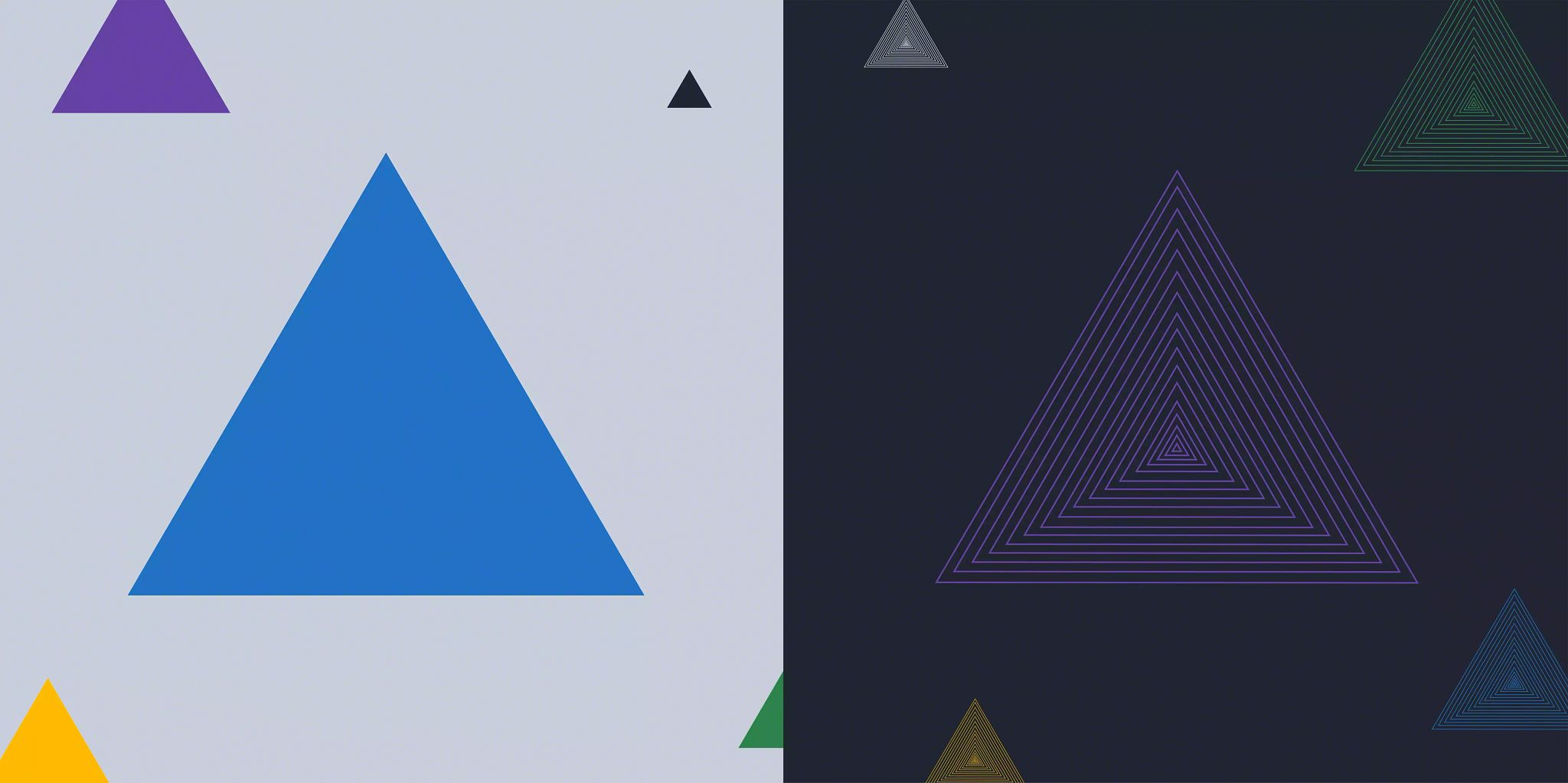 Article header image: Illustration divided into two halves with one main triangle in each half and then smaller triangles floating in the background of each half. The half on the left uses a white background while the one on the right is a black background.