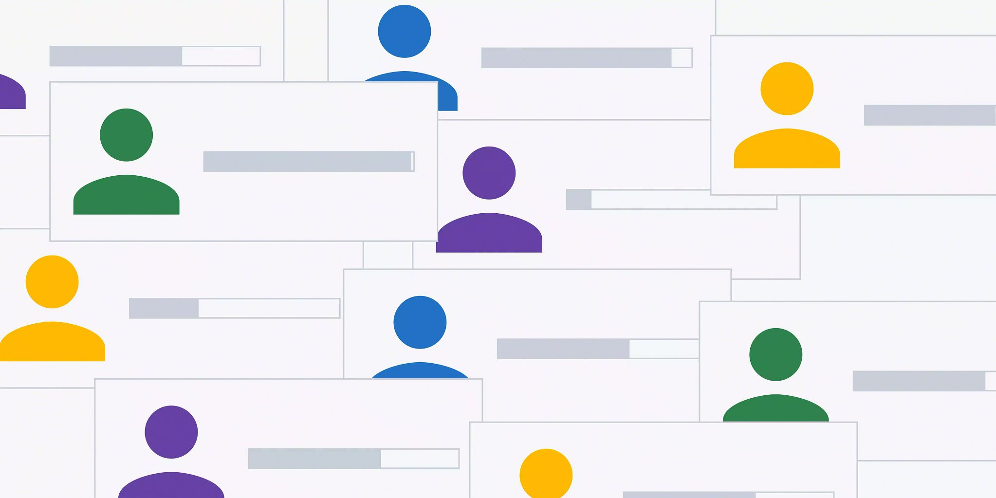 Overlaid graphics that look like business cards with solid colored illustrations to represent people and a progress bar on each one set to varying lengths.