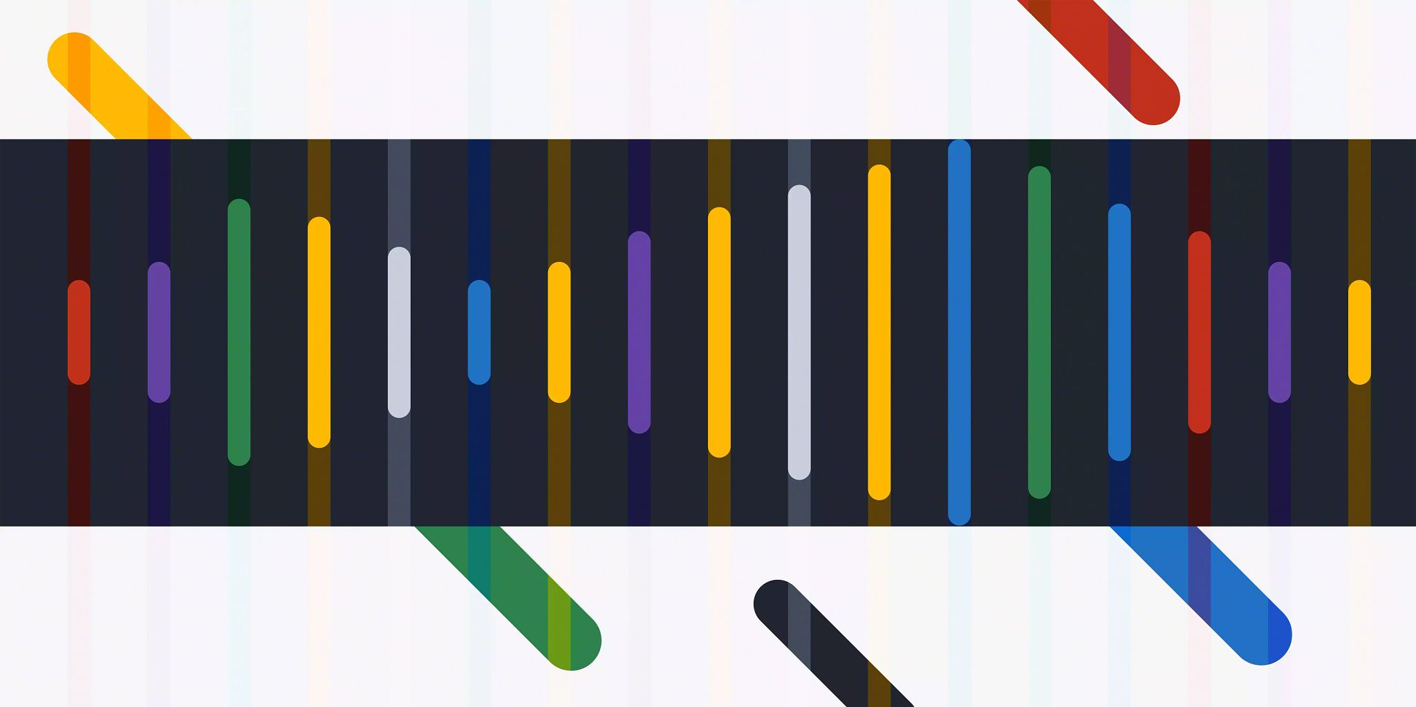 The background of the image is  five narrow, solid colored lines coming through the graphic diagonally from the upper left to the bottom right. In the foreground running across the graphic from left to right taking up the full width and 1/2 of the vertical space starting one forth of the way down the image is a semi-transparent black frame with narrow, solid lines in varying heights shaped the represent a sound wave.