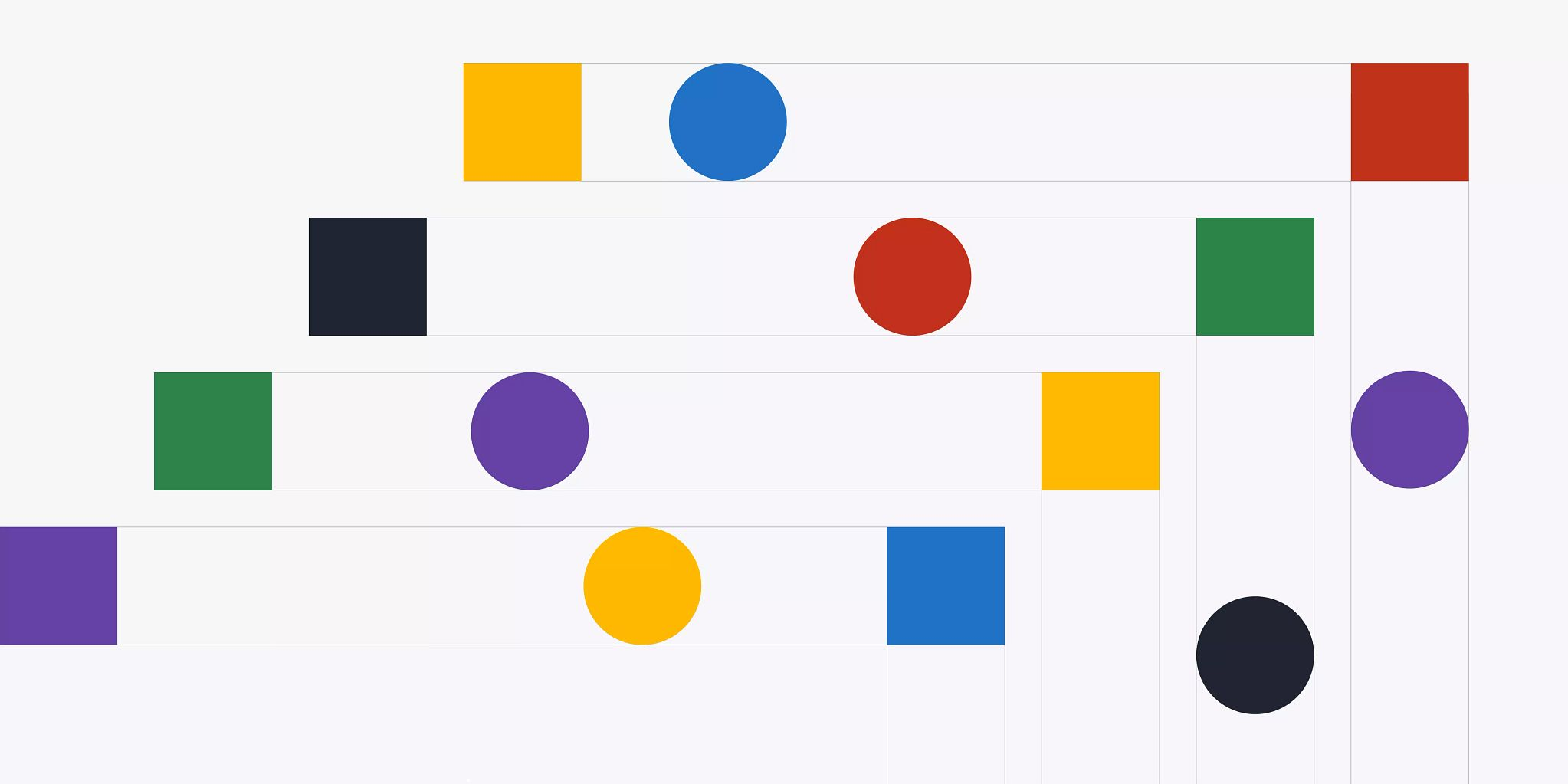 Various, solid-colored squares and circles that are depicted moving through four