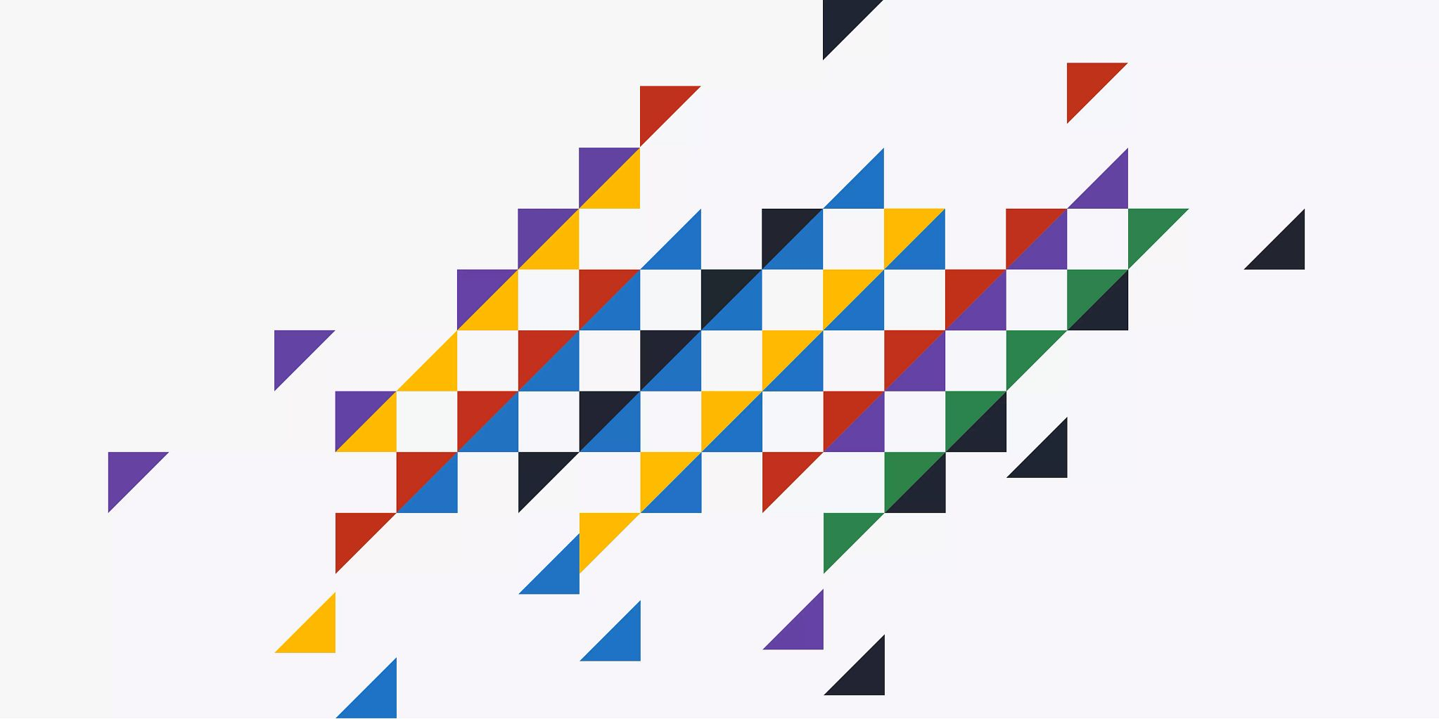 Multiple solid-colored triangles, some single, some placed end to end to form squares. All are congregated in the center of the graphic.