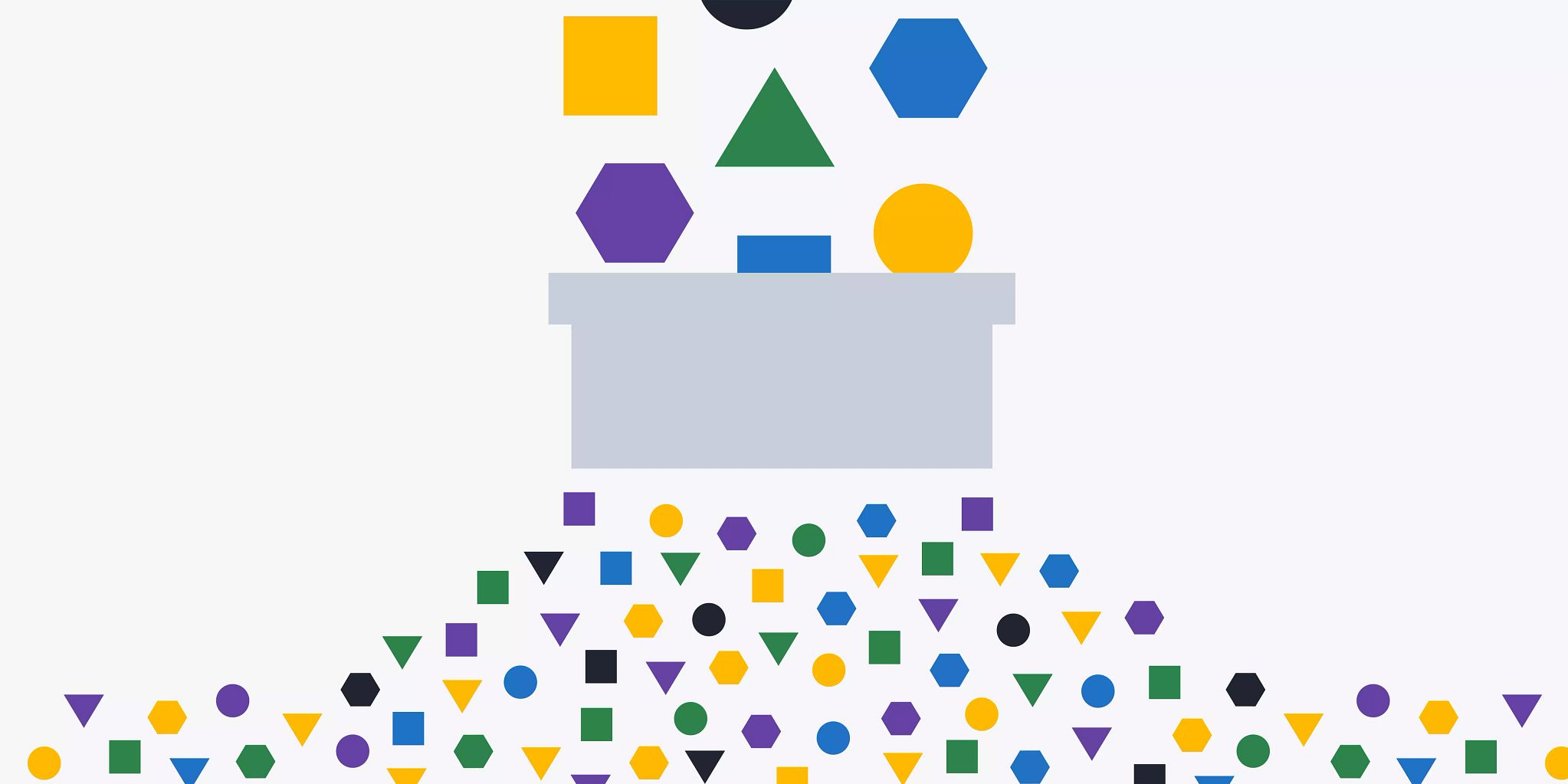 Larger colorful shapes are coming in the graphic from the top middle and funneling into a column in the middle where they flow out at smaller versions of each shape at the bottom.