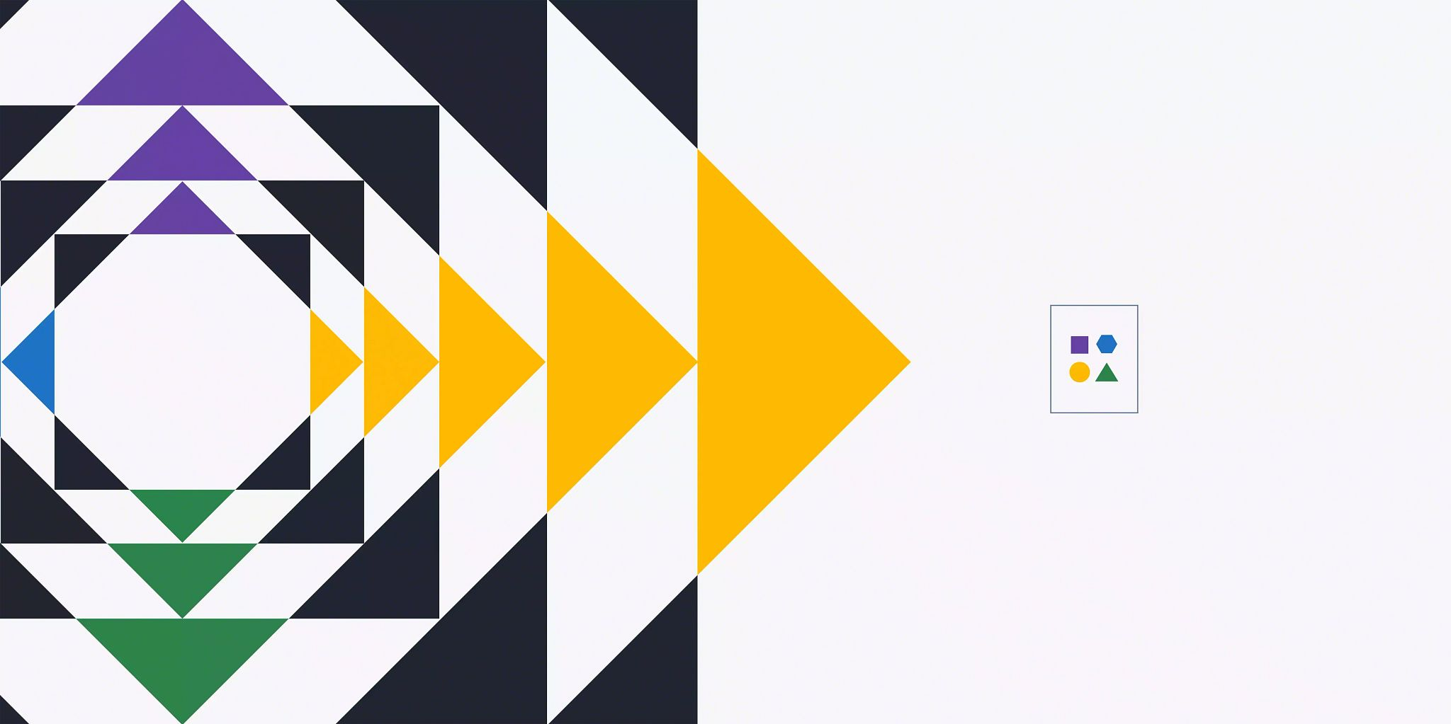 Article header image: The left side of the illustration is an expanding square made up of triangles and white space. On the right is a smaller rectangle centered in the space with four shapes in organized in the center of it.