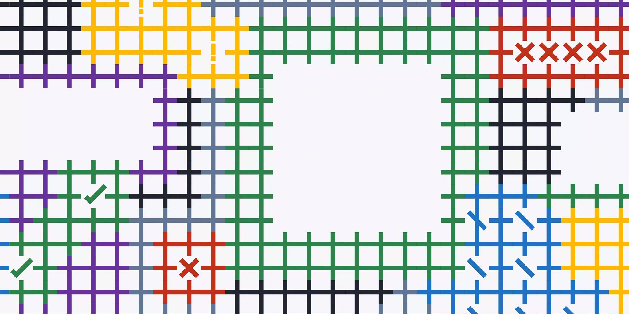 A multi-colored grid with a white square overlay and two white oval overlays.