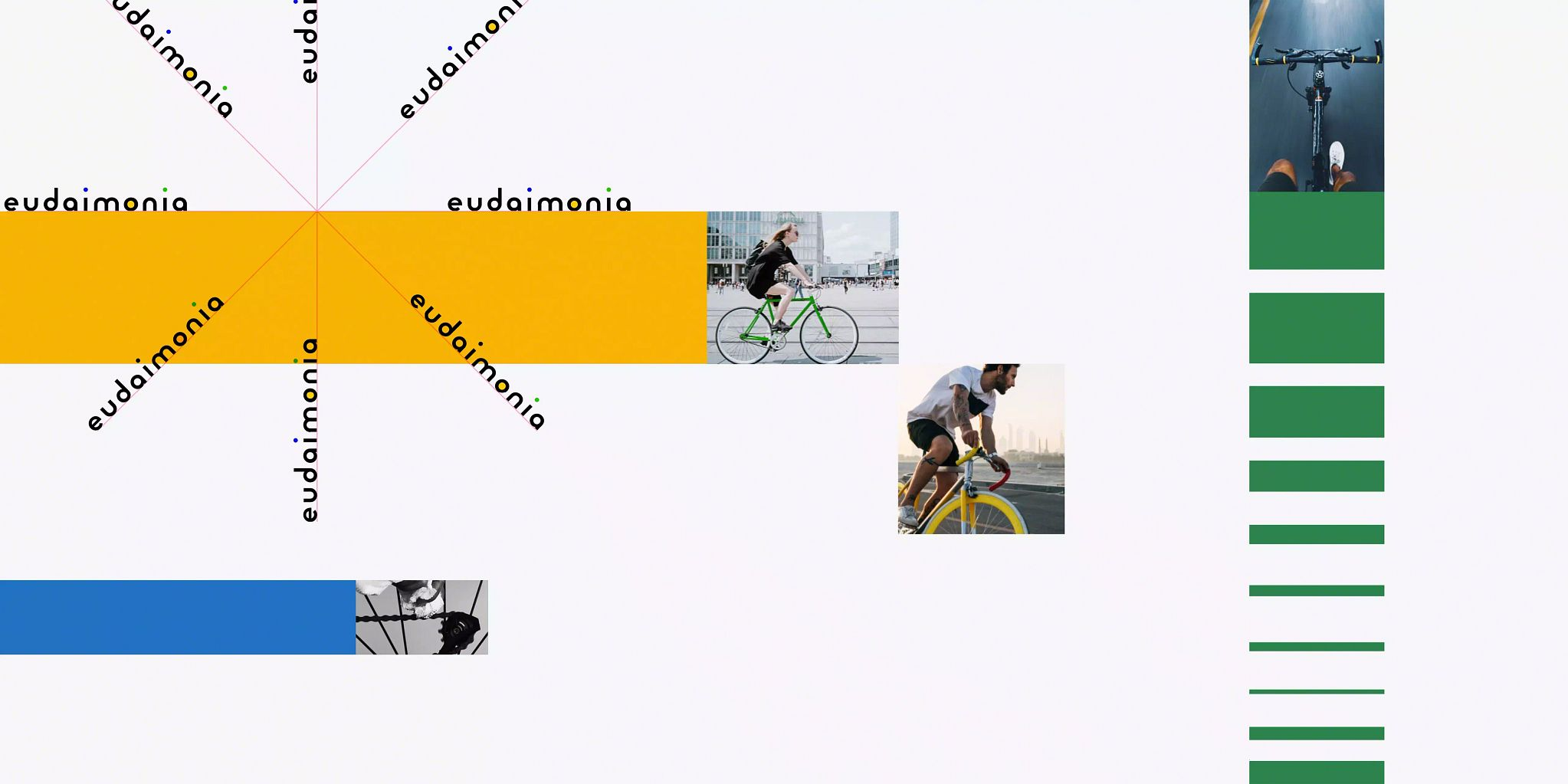 Photos of people on bikes.