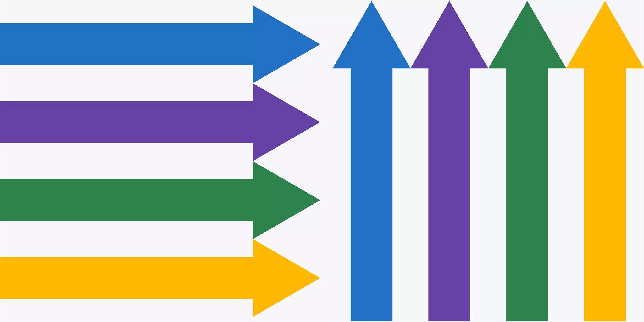 Four colorful, solid arrows stacked horizontally and pointing to the right starting at the left edge and ending in the middle. Followed by the same colorful arrows standing next to each other vertically, starting at the bottom of the graphic and pointing up.