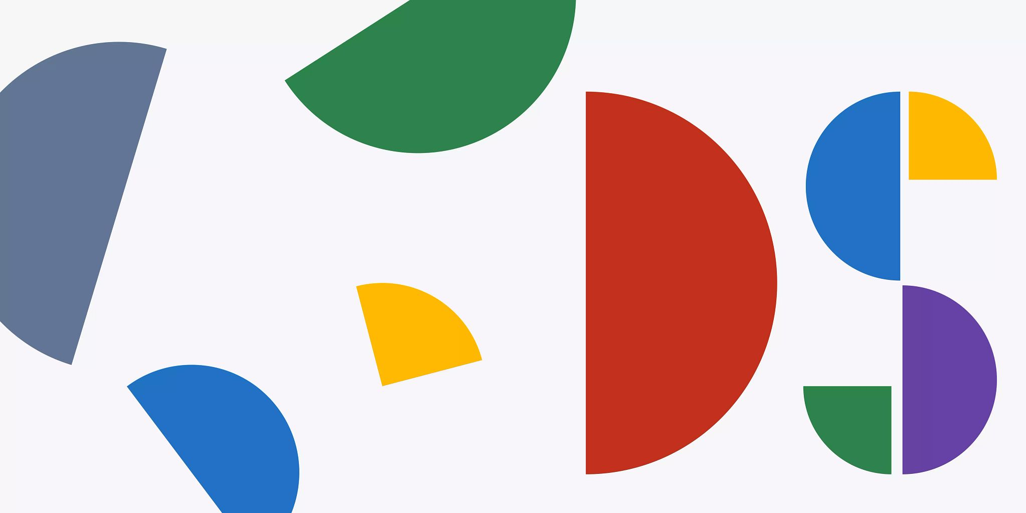 Half and quarter circles in solid colors sporadically placed on the left side of the image. Then these shapes come together on the right side of the image to form a D and S that represents