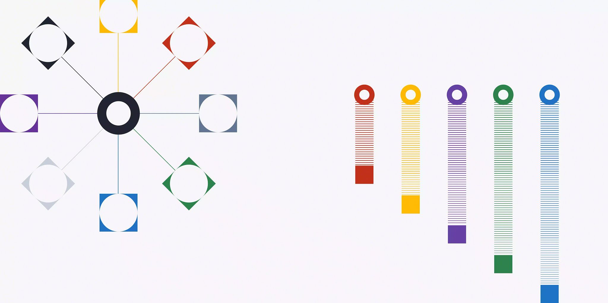 Blog header image: omnichannel vs. multichannel article depicted with visuals of a colorful spoke in the upper left corner and a vertical lines on the right increasing in length from left to right.