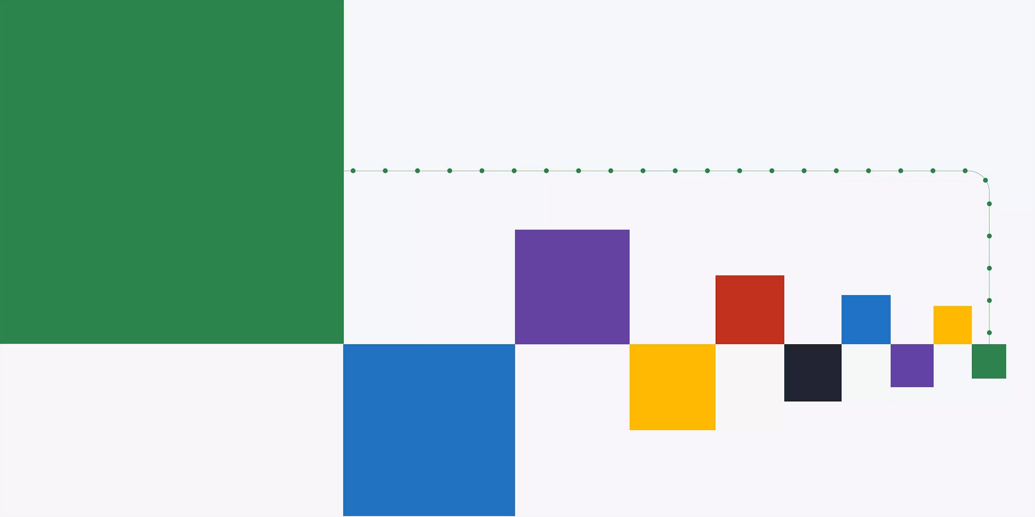 Graphic illustration with multiple solid colored boxes in varying sizes. With the largest one in the upper left corner and the others following to the right in diminishing sizes.