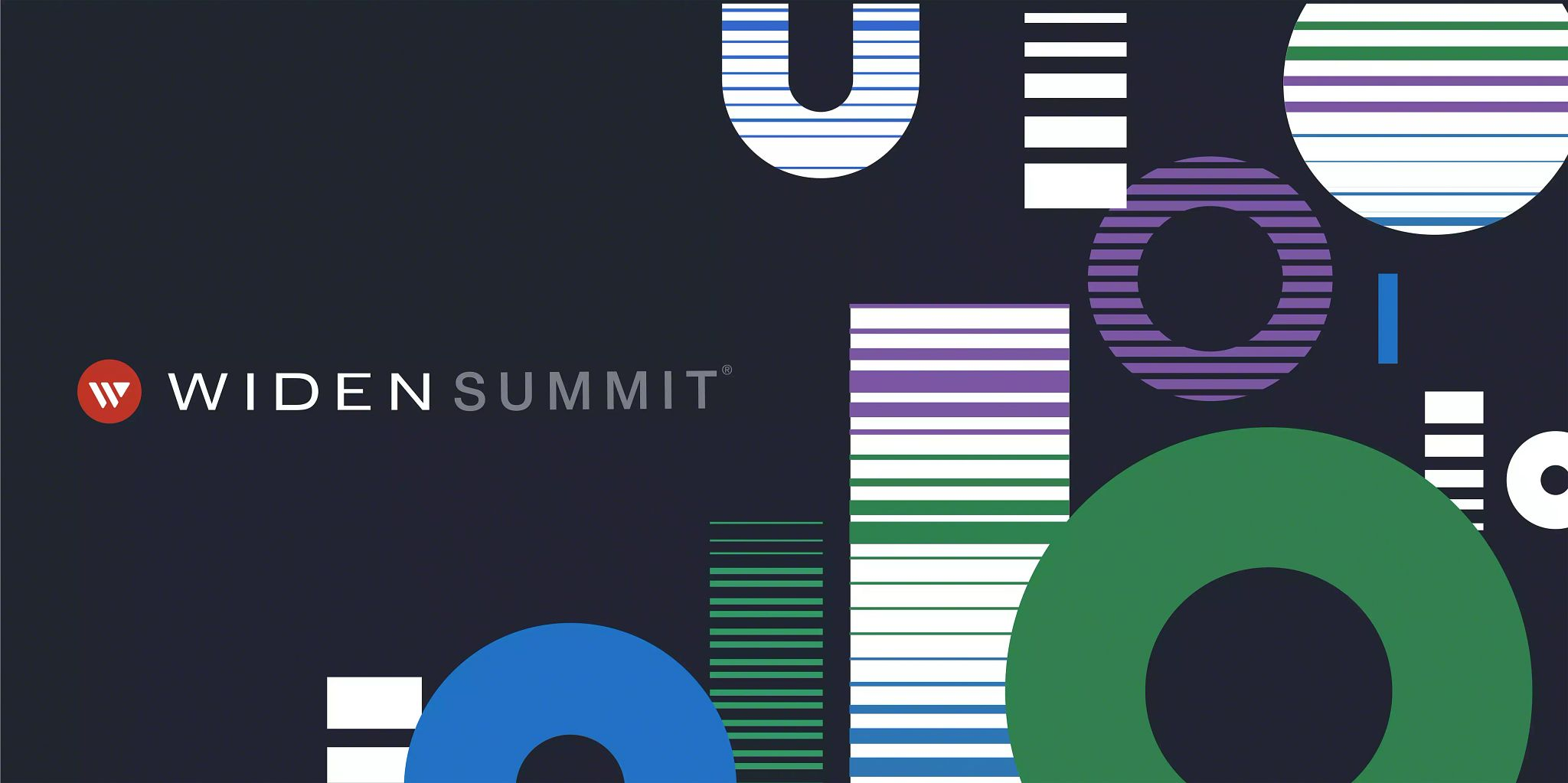 Article header image: Illustrated shapes to represents 1s and 0s on the right and the Widen Summit logo on the left in the center.