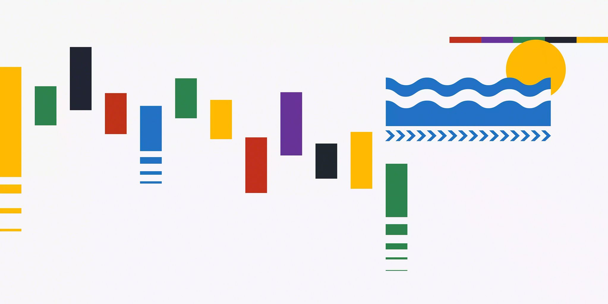 Illustration with many individual graphics including a row of lines varying in height, color, and vertical placement within the illustration. These lines go from left to right and end about 2/3rds of the way to the right. On the top right is a smaller blue graphic that looks like waves and an solid yellow circle behind it that looks like a sun. Above the yellow circle is a small straight, horizontal line that is comprised of five colors taking up an equal percentage of the line.