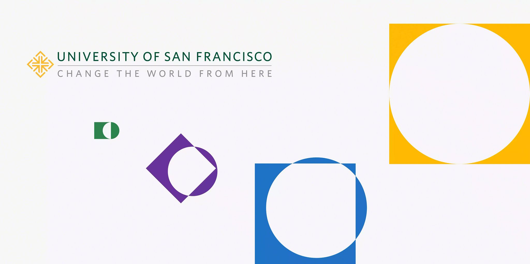 Article header image. University of San Francisco logo in the upper left corner. Four solid colored squares in various sizes with similar-sized white circles moving through the squares. The smallest square has the circle halfway through the square, where the largest square has the circle fully in the middle of it.
