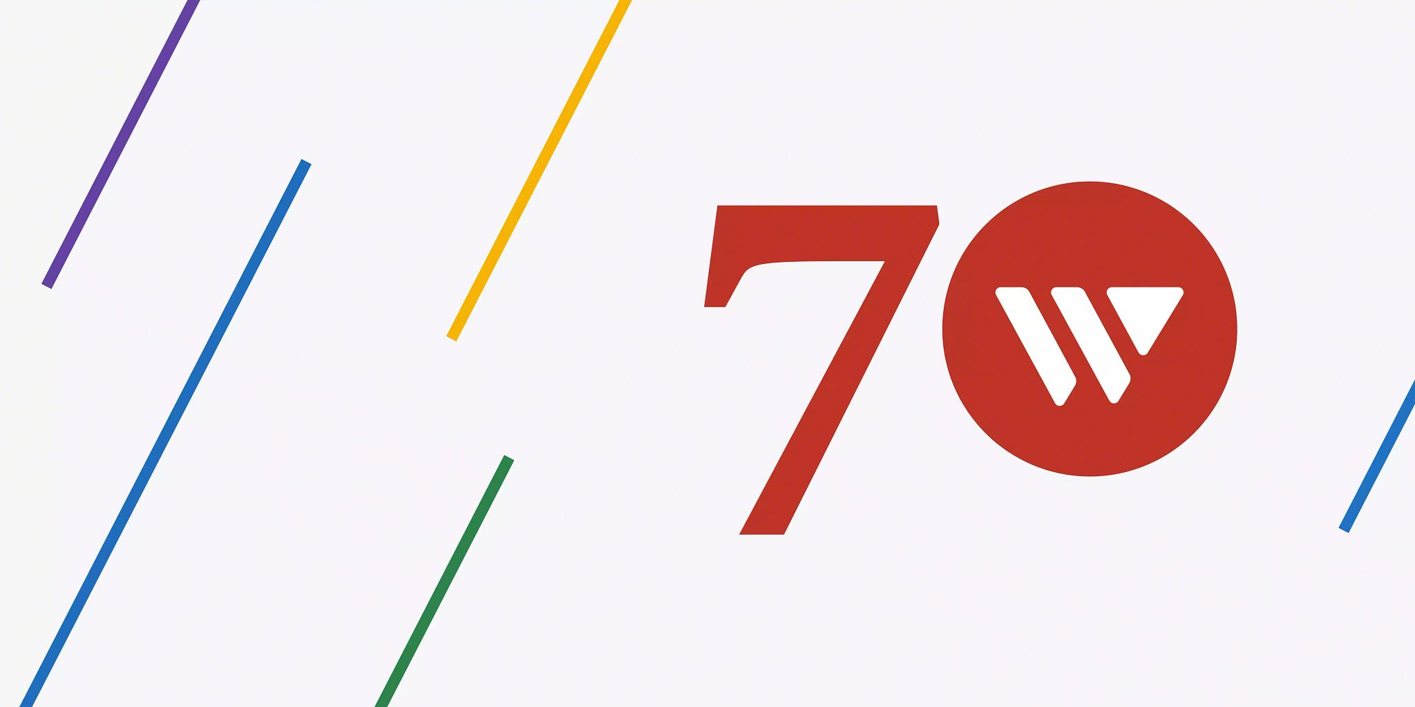 Graphic with a red number 70 on the right side in the middle using the Widen logo as the zero. Colorful lines are aded diagonally on the image but the background is mostly white space.