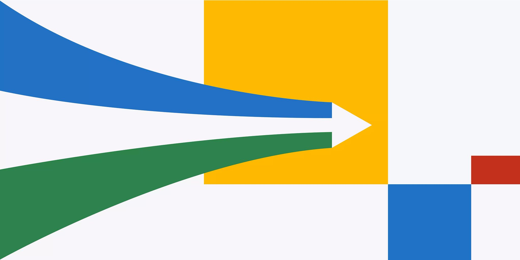 Tri-colored arrow coming in from the left side of the image. The base takes up the full height of the graphic and then narrows to the arrow point as it passes the center of the illustration. The right half of the design is comprised of the squares in varying sizes and colors.