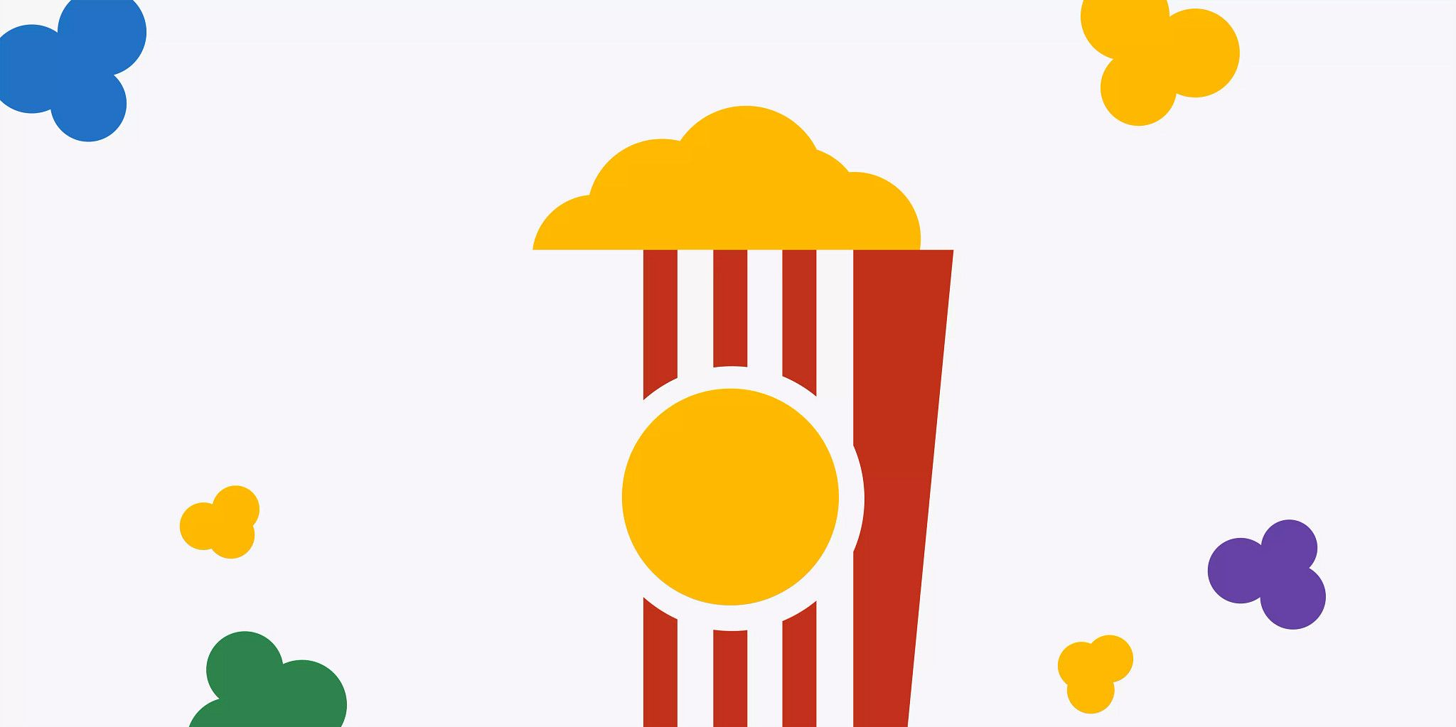 Graphic illustration of colorful popcorn around the edges and a container of popcorn in the middle.