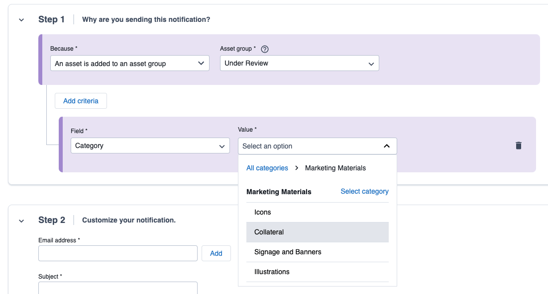 Select categories or dependent metadata as Paths criteria.