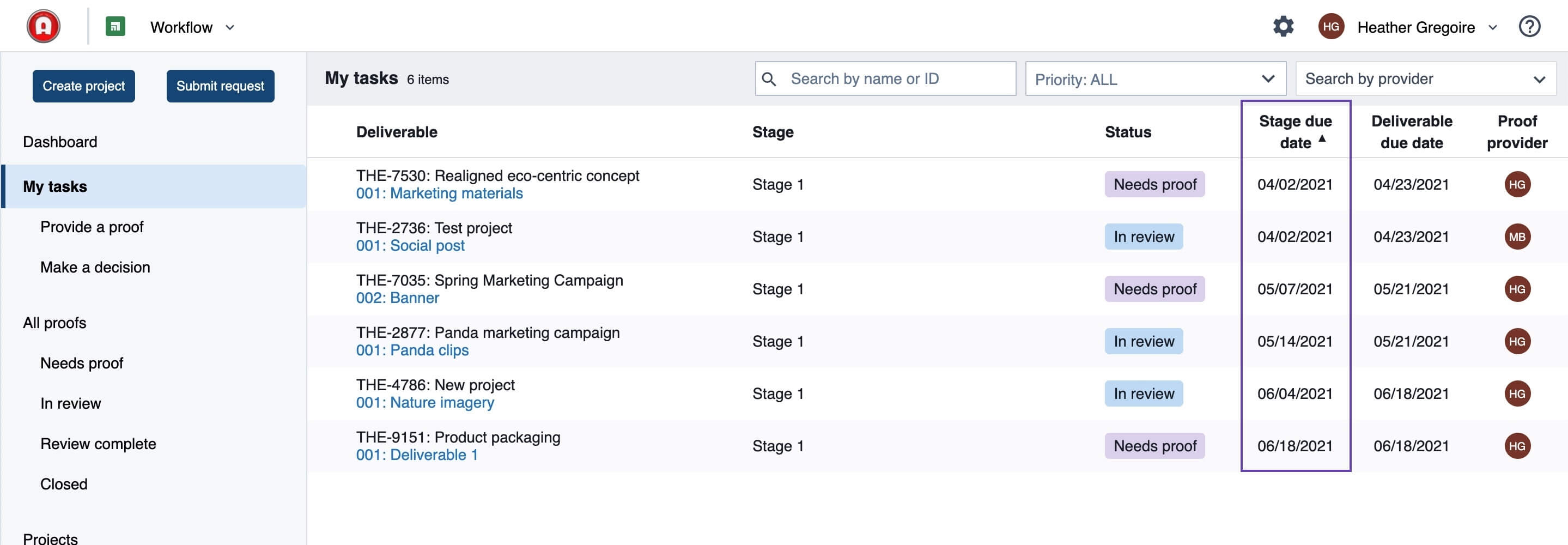 See stage due dates in the list view in Workflow.
