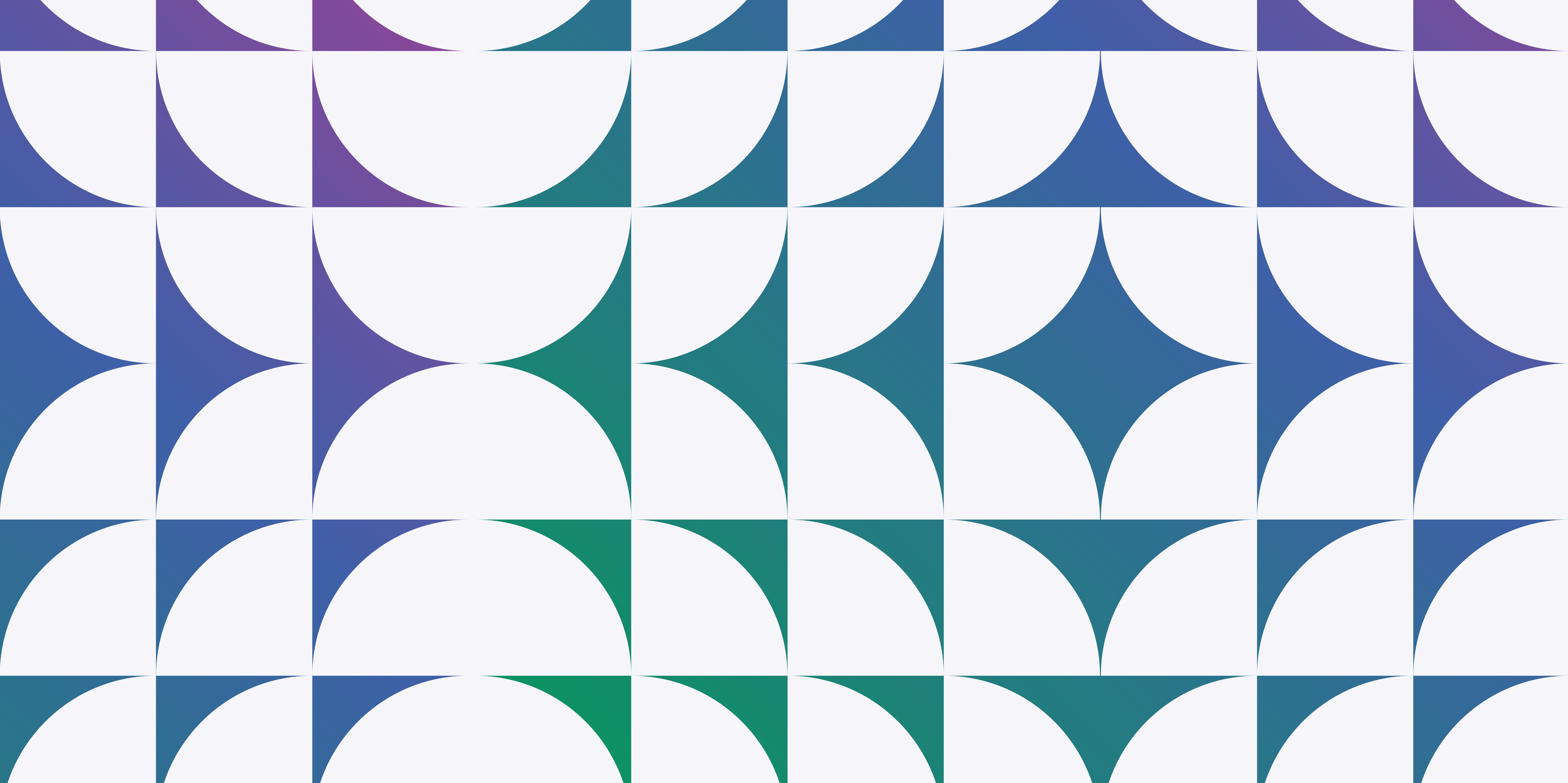 Abstract graphic with gradient green, blue, and purple colors and a significant amount of white space.