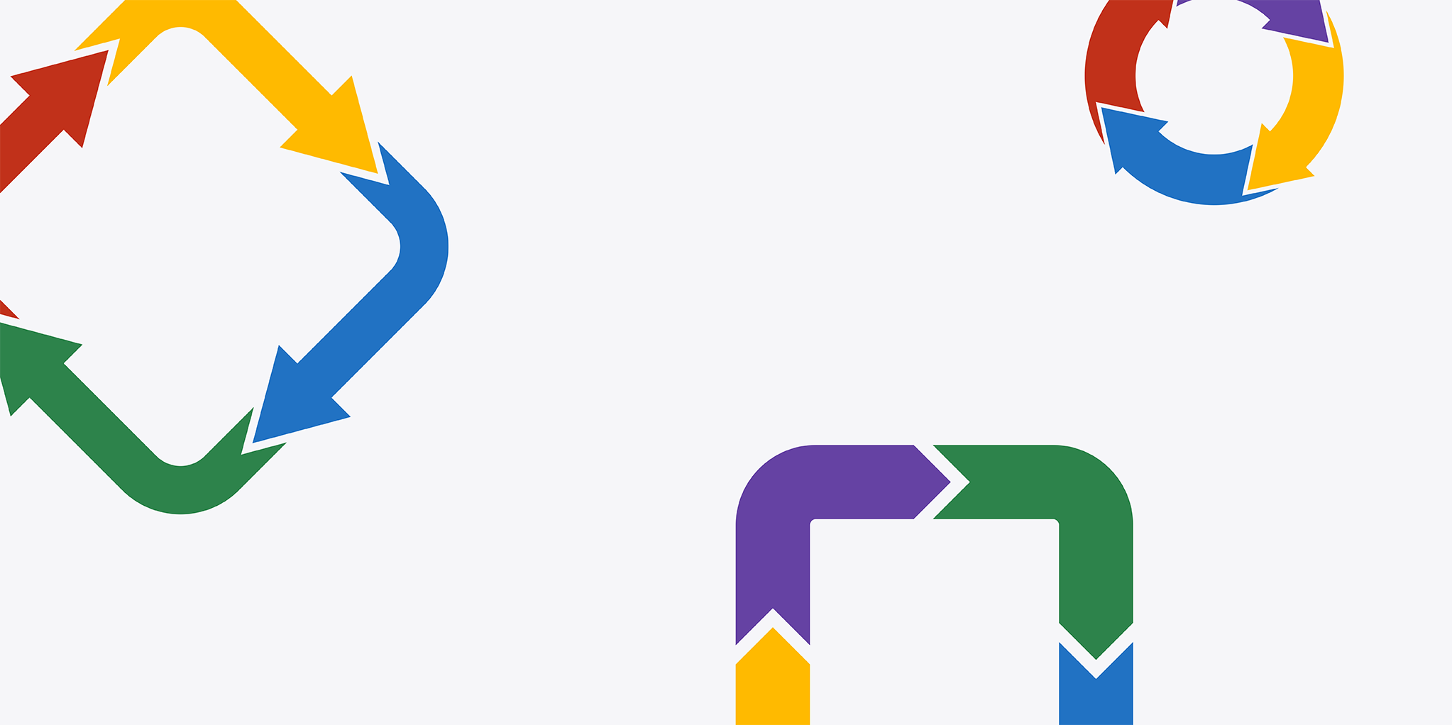 Colorful arrows depicting repurposing and flow from one into another.