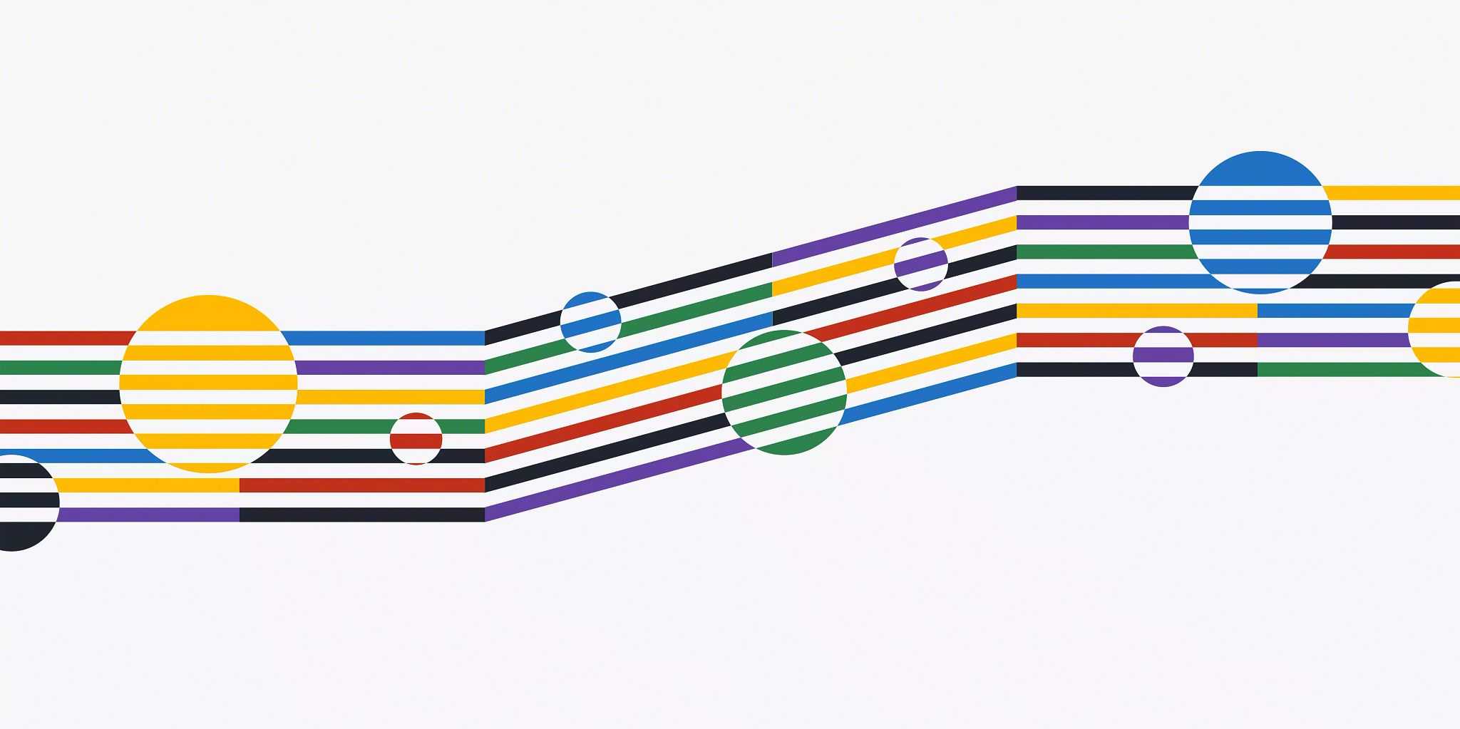 Blog header graphic: PIM workflow article depicted by several multicolor horizontal lines across the width of the image and circles with horizontal lines placed in the forefront.