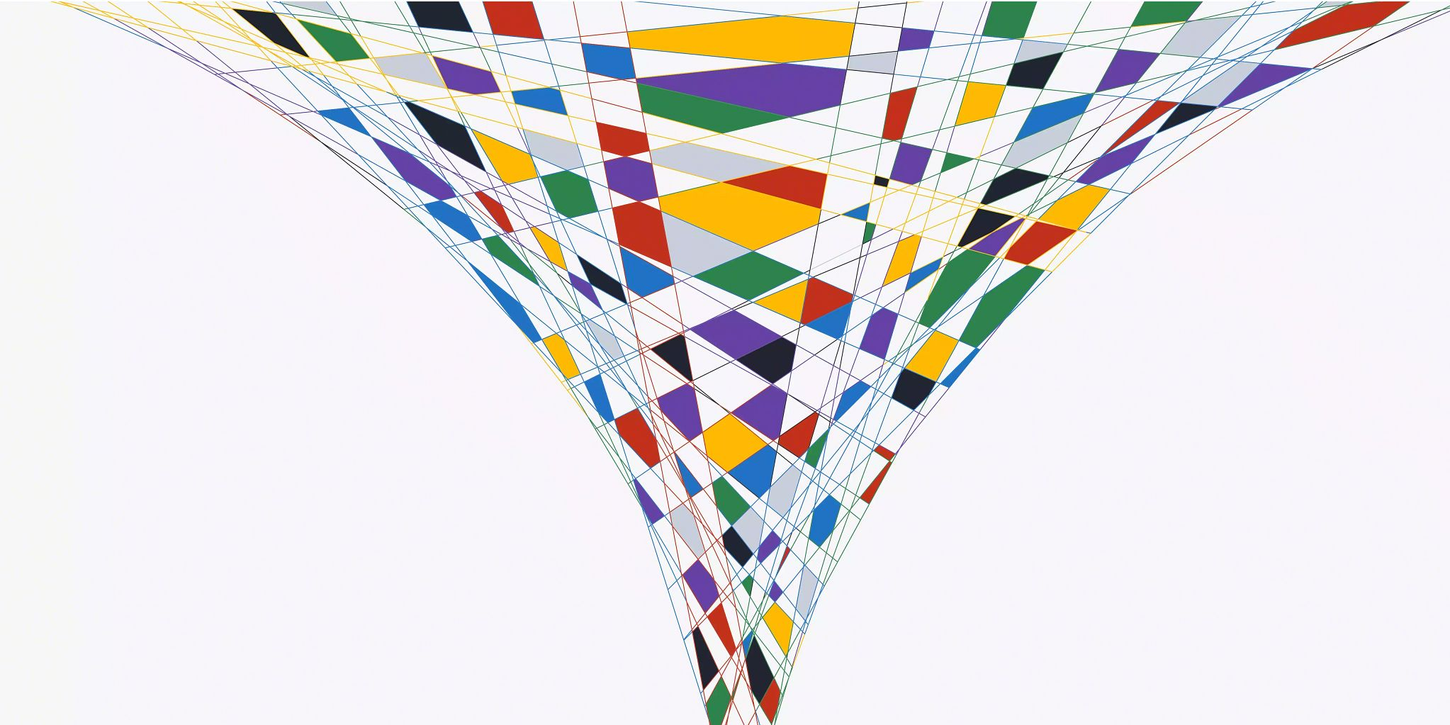 Blog header graphic: Marketing enablement article depicted by a colorful, geometric funnel.