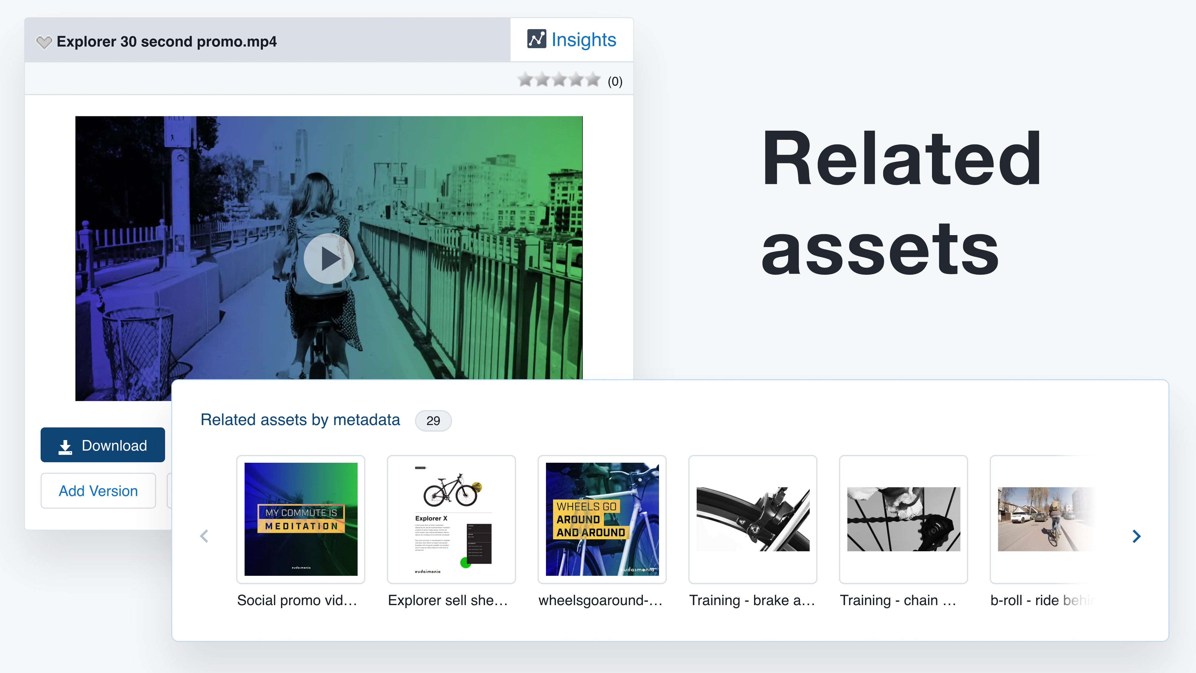 Related assets feature in the Widen Collective digital asset management system