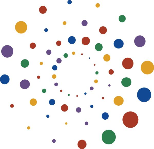 Radiating circles in Widen brand colors